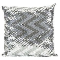 IMAX Estradin Silver Sequin Chevron Pillow Strikingly bold, this silver sequin chevron pillow adds shimmering brilliance and pattern to any modern glam or sophisticated space. Silver Home Accessories, Decorative Accessories, Bedroom Accessories, Chevron Home Decor, Home Decor Bedding, Decor Pillows, Pillow Fight, Contemporary Home Decor, Silver Sequin