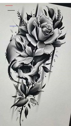 Tattoo Designs Skull Art Ink Trendige Ideen for men on chest hombre ideas for guys ideas for men for men Skull Tattoo Flowers, Skull Rose Tattoos, Black Rose Tattoos, Flower Tattoo Designs, Flower Tattoos, Body Art Tattoos, Angel Tattoo Designs, Tattoo Sleeve Designs, Compass Tattoo