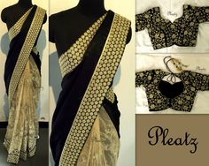 Black velvet saree with embellished bottom pleats - comes with floral embroidery blouse