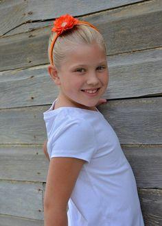 hard headband - girls headband - orange flower headband - girls hard  headband - orange arch headband 4908bd87106