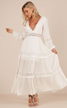 Showpo Ariel maxi dress in white - 14 (XL) Maxi Dresses White Boho Dress, White Maxi Dresses, Lace Dress, Casual Dresses, Summer Dresses, Dress Outfits, Fashion Dresses, Fashion Clothes, Boho Fashion