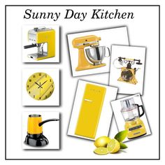 """Sunny Day Kitchen"" by kashmier ❤ liked on Polyvore featuring interior, interiors, interior design, home, home decor, interior decorating, Deco Breeze, KitchenAid and kitchen"
