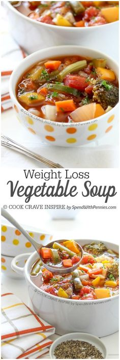 This Weight Loss Vegetable Soup Recipe is one of our favorites! Completely loaded with veggies and flavor and naturally low in fat and calories it's the perfect lunch, snack or starter! Detox Vegetable Soup, Healthy Vegetable Soups, Skinny Vegetable Soup, Low Calorie Vegetable Soup, Chicken And Veggie Soup, Veggie Soup Recipes, Crockpot Vegetable Soup, Low Calorie Soups, Healthy Crockpot Soup Recipes