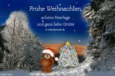 Djabbi Teddy im verschneiten Winterwald zu Weihnachten