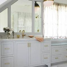 Gray Cabinets Brass Pulls, Transitional, Bathroom, Rebecca Hawkins Interiors