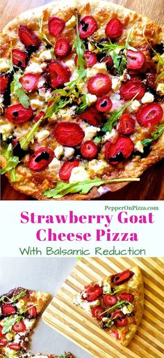Delicious Strawberry Goat Cheese Pizza for Two! Slices of fresh strawberry baked with fresh mozzarella and goat cheese on a thin crust homemade base. Rocket leaves or or basil leaves and a Balsamic Reduction give the finishing touch via @sujatashukla Veg Pizza, Goat Cheese Pizza, Strawberry Pizza, Delicious Dinner Recipes, Yummy Recipes, Healthy Recipes, Sweet Pizza, Vegetarian Recipes, Pizza Recipes