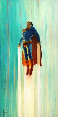 Original Superman, Superman Art, Superman Man Of Steel, Dc Comics Characters, Dc Comics Art, Comic Books Art, Comic Art, Daredevil Yellow, Batman Painting