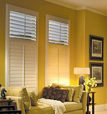 "1-panel vinyl shutters in Casing Frame with 3 1/2"" louvers and off-center divider rail"