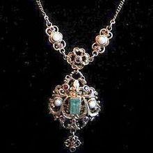 HALF PRICE SUPER SPECIAL: Antique Austro-Hungarian Multi Gemstone and Filigree Lavalier Pendant Necklace