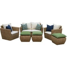 Serve snacks poolside or gather friends for cocktails with this resin wicker seating group, featuring a loveseat, 2 chairs, and 3 cushioned ottomans.