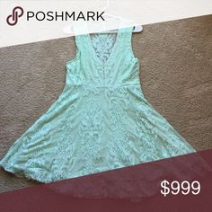 """Beautiful Lace Light Green Dress 👗 DARLING FLIRTY """"TAKE ME OUT DRESS"""" LACE LACE LACE! Pretty Mint Green, nice lining, Shoulder to Shoulder 13 1/2"""", pit to pit 16 1/2"""", Waist 15 1/2"""", Length 34"""", Top to waist 15"""", Waist to bottom 19"""", Side Zipper, Great swing flare approx 37"""" flat💥👠 Necklace NOT INCLUDED, REASONABLE offers can be made through OFFER FEATURE ONLY😘💕 Ty NWOT NEVER WORN! Free People Dresses"""