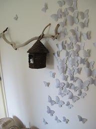 DIY 3D butterfly wall installation