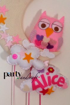 pink owl baby announcement