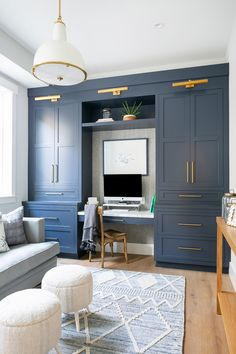 traditional living room with navy built-ins with small desk area, neutral living room with home office design with custom bookcases with navy cabinets and gold sconce for small desk area within family room Built Ins, Home, Built In Cabinets, Office Built Ins, Home Office Design, Home Office Decor, Office Interior Design, Home Remodeling, House Interior
