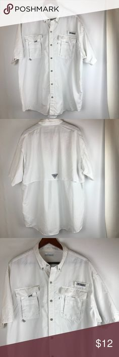 """Columbia sportswear company PFG Men's Size XL/TG PreOwned condition very light stains barely noticeable. Columbia sportswear company PFG Size XL/TG Men's Button Down Shirt 100% Nylon Made in Vietnam  Measurements lay flat: Length 32"""" Armpit to bottom cuff 17"""" Sleeves 10"""" Cuff 8.5"""" Neck7"""" Chest 27"""" Across bottom 27"""" Pockets 7x6"""" Columbia Shirts Casual Button Down Shirts"""
