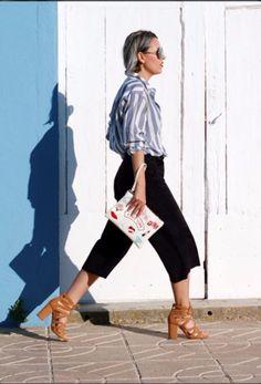 Stripes, culottes and heels for a sunny day by @littledreamsbyr 🌞👠💖 Rayas, culottes y tacones para un día de sol por @littledreamsbyr 🌞👠💖