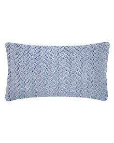 Design Trends 2013: Pastel - ELLE DECOR - Hand Smocked Leaf Cotton Velvet Cushion in Duck Blue - Nitin Goyal