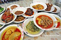 A must try when visiting #Jakarta: Padang Food - These traditional dishes from West Sumatra region often uses chicken, beef or fish, prepared in a coconut curry, fried or with sambal (chilli paste) and served with cabbage and curried egg. As with most Indonesian food, sambal is essential in Padang cuisine. Padang has it's own special type of sambal, sambal ijo (green spicy sauce).