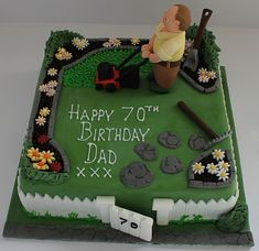 A gardeners birthday cake! Birthday Cakes For Men, Garden Birthday Cake, 70th Birthday Parties, Cake Birthday, Birthday Ideas, Dad Cake, Retirement Cakes, Garden Cakes, Creative Cakes
