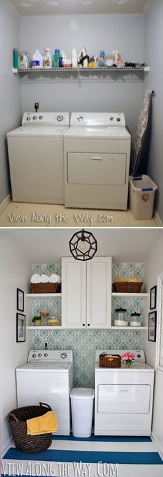 Updated laundry room on a TINY budget at www.viewalongtheway.com. Stenciled walls, painted floors, gobs of DIY inspiration!