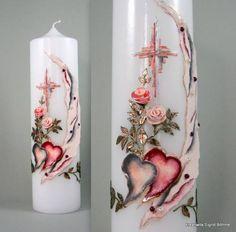 Hochzeitskerze edel mit Rosen und Perlen DW 311