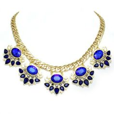 Fancy Goldtone Cobalt Navy Brilliant Blue Lucite Stone Crystal Rhinestone Link Chain Multi Charm Pendant Chic Statement Necklace Fabulous Trendy Elegant Fashion Costume Jewelry  Price : $24.99 http://www.contessabella.com/Goldtone-Brilliant-Rhinestone-Statement-Necklace/dp/B00H26GFUY