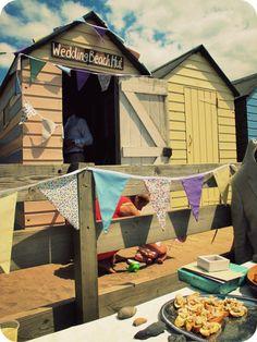 Summerleaze Beach, Cornwall, England. Wedding Beach Hut