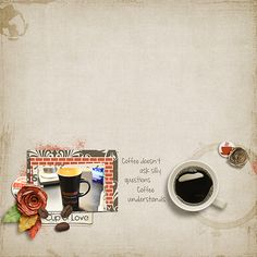 Digital Scrapbook Page Layout by Jan using the Morning Coffee Kit from Etc by Danyale at The Lilypad #etcbydanyale #thelilypad #digitalscrapbooking #memorykeeping #coffee