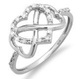 Jewelry Junkie - 0.15 Carat (ctw) Sterling Silver Round White Diamond Ladies Promise Three Heart Infinity Love Engagement Ring