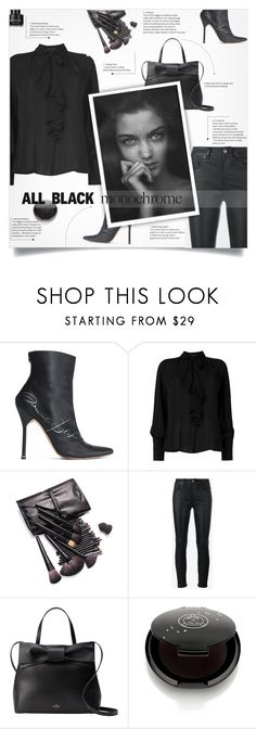 """Monochrome: All Black Everything"" by smajlovicelvira ❤ liked on Polyvore featuring Vetements, Etro, Yves Saint Laurent, Kate Spade, Rituel de Fille and Kenneth Cole"