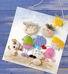 pebble family portrait - családi portré kavicsból