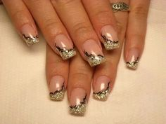 nail designs black and gold - Google Search