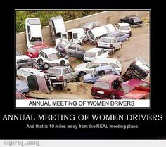 """""""Annual meeting of women drivers."""" An example of knee-jerk humor that turns upon identifying a bad driver as a woman. Such humor assumes contempt for the group -- """"woman"""" could be replaced with many other group names but not, say, """"man"""" or """"white,"""" as these don't index readymade contempt for the group as a whole"""