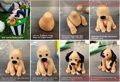 Výsledek obrázku pro how to make a fondant labrador puppy face Fondant Figures Tutorial, Cake Topper Tutorial, Fondant Toppers, Polymer Clay Cat, Polymer Clay Animals, Fondant Flower Cake, Fondant Baby, Fondant Cakes, Dog Cake Topper