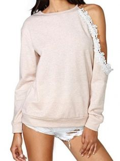 Pink One Shoulder Long Sleeve Lace Decor Pullover Sweater