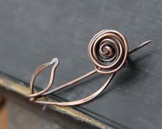 Shawl pin, scarf pin, sweater pin, brooch, rose shawl pin, rustic. wire wrapped, oxidized copper shawl pin, woodland, nature, flower, floral