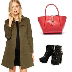You have a kaki coat? It's perfect with this red bag!