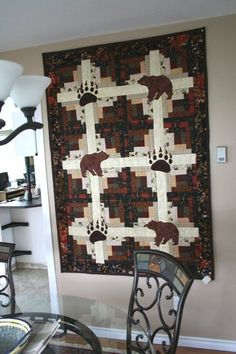 Quilting Projects, Quilting Designs, Quilting Ideas, Sewing Projects, Panel Quilts, Quilt Blocks, Wildlife Quilts, Bear Paw Quilt, Log Cabin Quilts