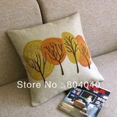 """Pq502 p&h libre de algodón al por mayor de ropa de cama mantas funda de almohada funda de cojín cuadrado 18"""" 45cm autumn's amarillo del árbol decoración de color naranja                                                                                                                                                      Más"""