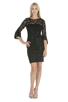 Short Dress with Lace Yoke and 3/4 Bell Sleeves & Side Pleats