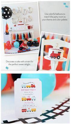 Choo Choo Train Theme Party Invitations & Decor Ideas