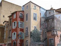 Street Art. Trompe l'oeil in South of France.