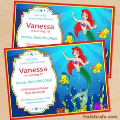 free little mermaid invite {FREE} Printable Disney Little Mermaid Birthday Invitation