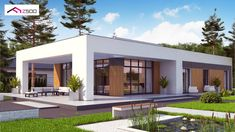 Flat House Design, Modern Small House Design, Country House Design, Small Modern Home, Contemporary House Plans, Cool House Designs, Modern House Facades, Modern Bungalow House, Cottage Style House Plans