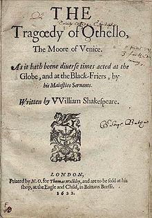 """Nov 1st, 1604; William Shakespeare's tragedy """"Othello"""" was first performed, at Whitehall Palace in London."""