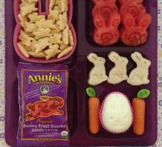 This lunch has Annie's White Cheddar Bunnies, watermelon, Annie's Bunny Fruit Snacks, all natural peanut butter  jelly bunny sandwiches, carrot sticks, Stonyfield Yokids Squeezers  a hard boiled bunny egg made with an egg mold. I used cookie cutters to make the watermelon and sandwiches into bunny shapes because Annie's logo is a cute little bunny.  My kids love Annie's fruit snacks the most!