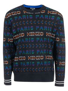 Kenzo Allover Logo Jacquard Sweater In Black Kenzo, Christmas Sweaters, Knitwear, Mens Fashion, Boutique, Wool, Sweatshirts, How To Wear, Clothes