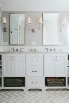 Vendome Double Sconce, Transitional, bathroom, Kate Marker Interiors .mirrors.