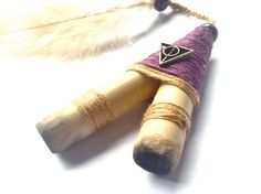Purple Magick Kuripe, Self Applicator Kuripe. Kuripe for Tobacco Snuff, Rapé. Tobacco Pipe for Rapeh, Shamanic Snuff. by AUMBRATRIBE on Etsy