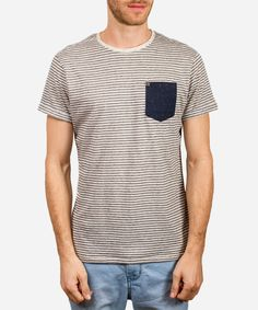Jameson #Tee pairs well with any #bottom. You're going to be wearing this one on the Reg.  Yarn Dye #Striped Tee with Neppy Yarn and Patch #Pocket 60% #Cotton 40% Polyester Made in #India.  #Fashion #Menswear #Style #Shop #Shopping #Top #Collection #Label #Brand #Designer #Shirt #Appare #Male #Mens #Clothing #Clothes #tshirt #print #summer #spring #stripes